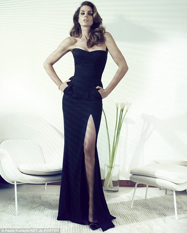 Body-conscious: Cindy Crawford poses for a series of sultry new snaps for The Edit, admitting that she still struggles with her body image