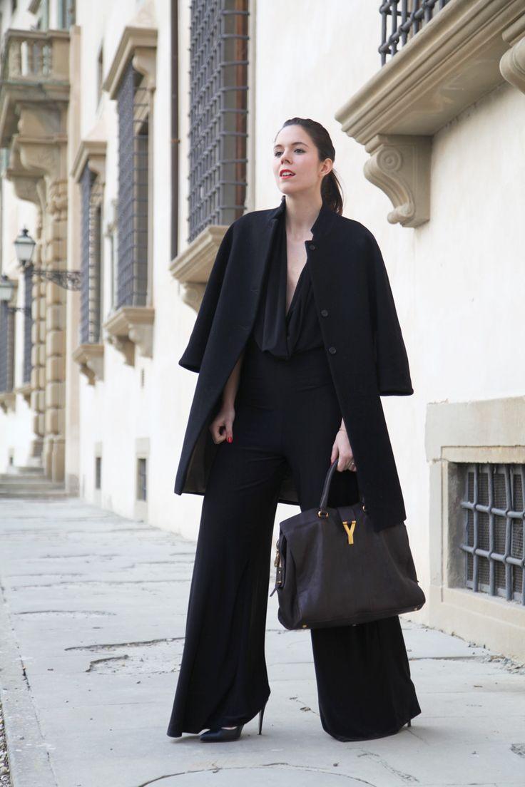 Black Jumpsuit Alexoo   Coat aniye by   Bag Ysl   Heels from sarenza  www.ireneccloset.com
