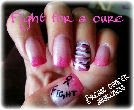 ♥ Done by my aunt, Breast cancer awareness nails ♥