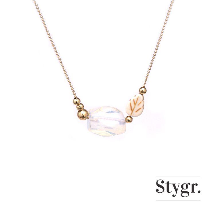 Opal Leaf Necklace - Gold. Stygr. - Handmade Designs.   www.stygr.com