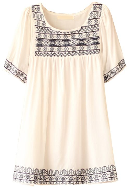 White Batwing Sleeve Embroidery Loose Blouse