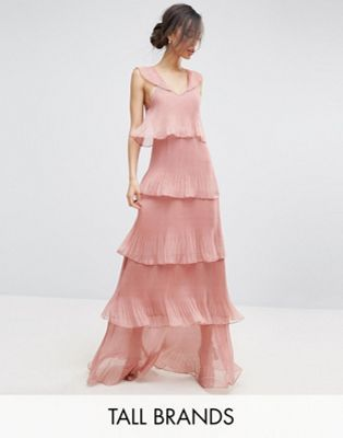 True Decadence Tall Cami Strap Maxi Dress With Ruffle Layered Pleated Skirt