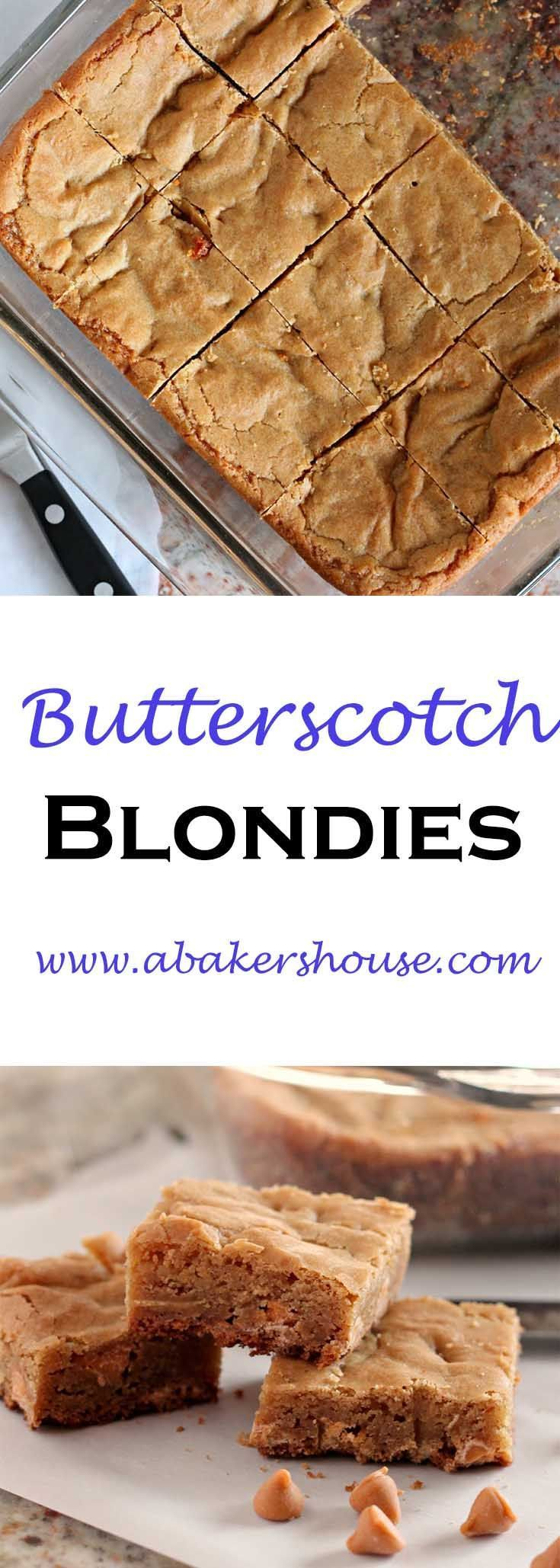 Butterscotch Blondies, a recipe from Cooking Light made by Holly Baker at www.abakershouse.com