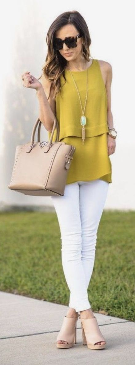 Spring & Summer 2017 Fashion trends! Ask your Stitch Fix stylist to send you items like this. Mustard yellow sleevless draped top with white skinnies and long pendant gold & turquoise necklace. #spons