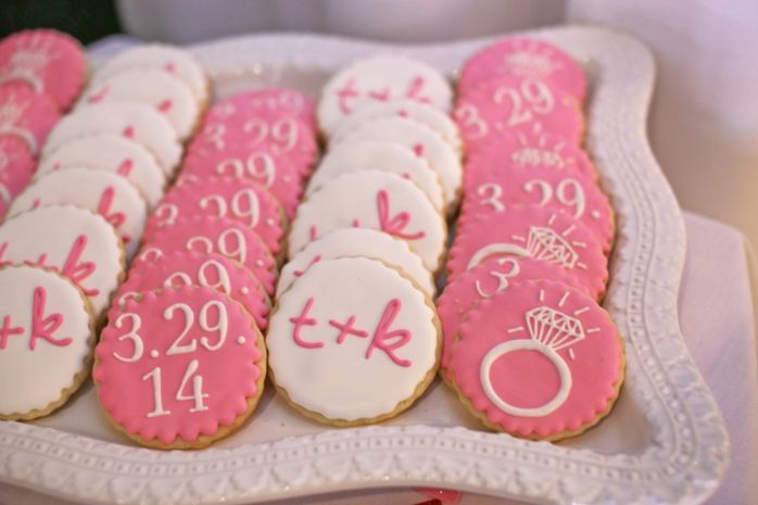 Bridal shower cookies via Pretty in Pink Bridal Shower by Mint and Lovely Studios