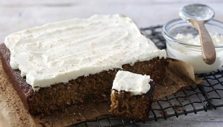 Super-moist carrot cake sandwiched with coconut cream cheese icing
