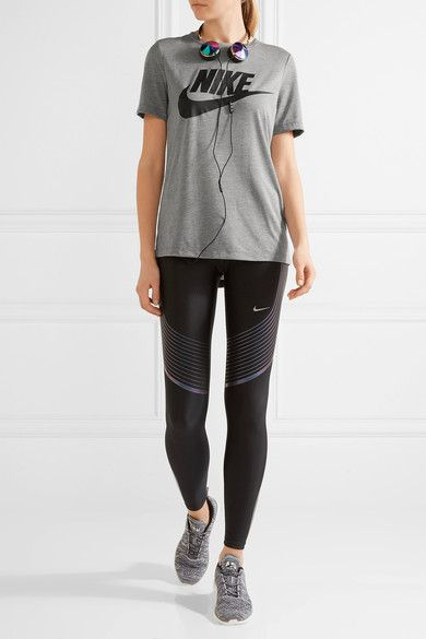 Nike - Essential Printed Stretch-jersey T-shirt - Gray -