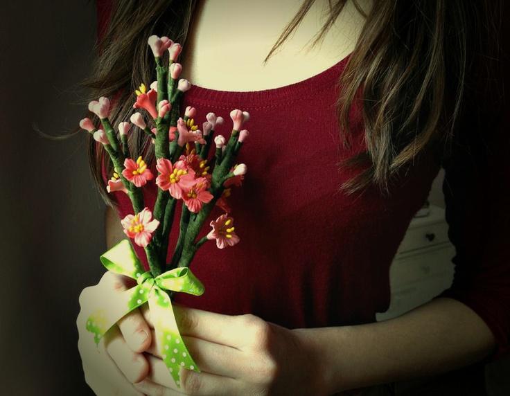 Cherry blossom bouquet (lucrare inscrisa in Concursul Decoreaza-ti Iarna, cu Breslo!)