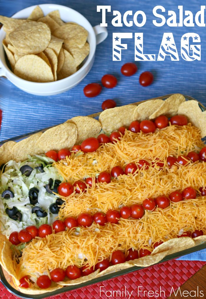 Easy Taco Salad Flag: Perfect for Memorial Day or 4th of July! FamilyFreshMeals.com
