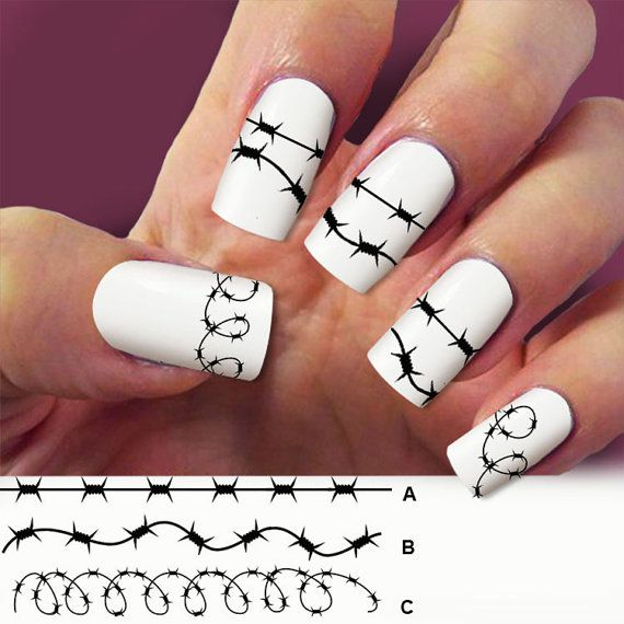 Barbed wire nail art 4 STRIP nail decals Nail Art by Marziaforever