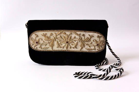 Zilveren Wire draad Beaded fluweelzwart handtas, Vintage geborduurd handtas, avond tas