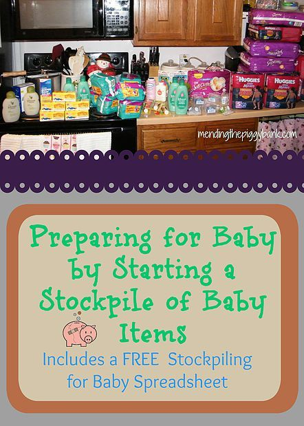 Preparing for Baby by Starting a Stockpile of Baby Items -- Great reference sheet if you have a new bmeaby on the way or even if you're planning a baby shower! Great method for organization. Includes a FREE PRINTABLE STOCKPILING FOR BABY SPREADSHEET!!