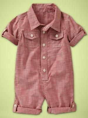 Baby Gap Boys Red Chambray Convertible Romper | eBay