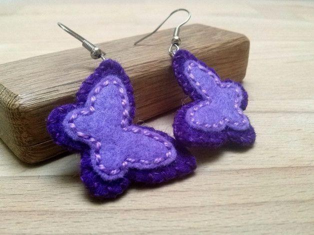 Felt Earrings – Butterfly earrings, lilac purple felt earrings – a unique product by dusi-ustvarja on DaWanda