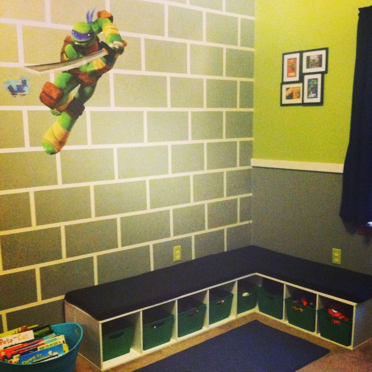 Teenage Mutant Ninja Turtle Bedroom - Sara!!! We can totally do this right?1?1 Tape it off and paint! two tones and chair rail....DONE! He will LOVE it