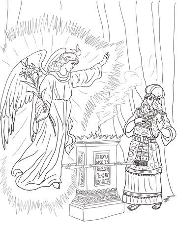Angel Visits Zechariah Coloring Page From John The Baptist Category Select 27001 Printable Crafts Of Cartoons Nature Animals Bible And Many More
