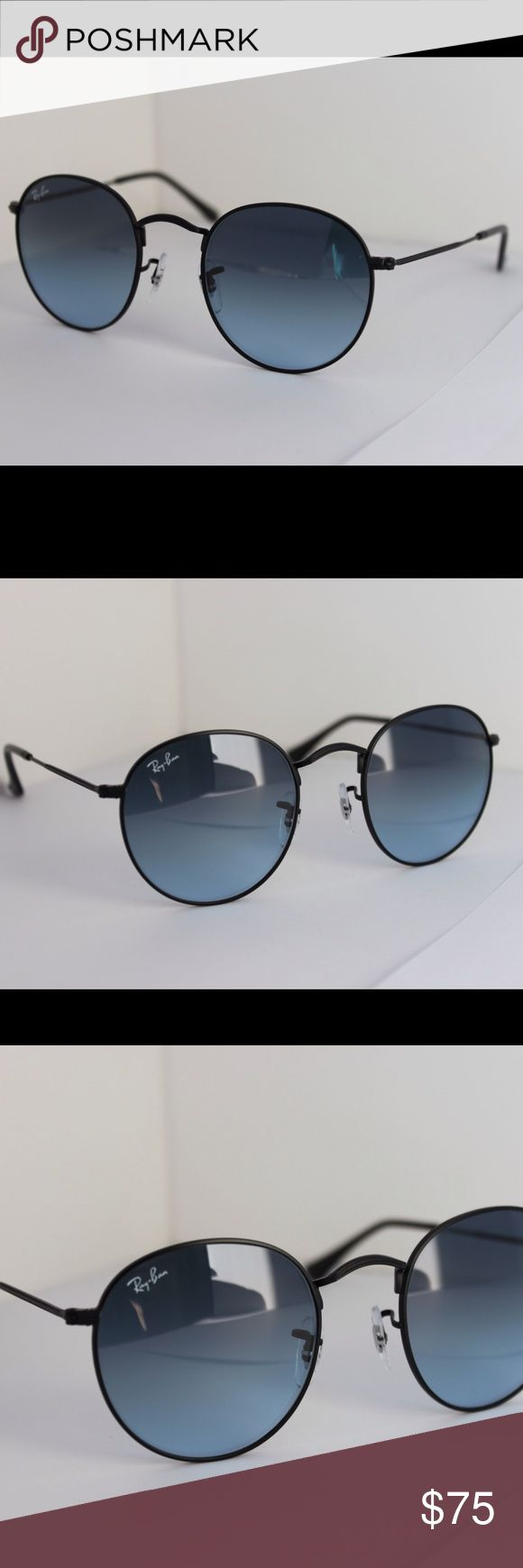 Ray-Ban round sunglasses in black/blue gradient NWT never worn Ray-Ban Round Metal sunglasses John Lennon style RB3447 006/3F 50-21 Black metal frame Light blue gradient lenses 50 mm The Ray-Ban ® Round Metal sunglasses are totally retro. This look has been worn by legendary musicians and inspired by the 1960s counter-culture when this style first originated.The Ray-Ban unisex metal, iconic sunglasses are known for their defined round crystal lenses and distinct shape.  Made in Italy…