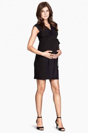 Belle e alla moda anche in gravidanza con l'abbigliamento premaman autunno inverno 2014 2015 H&M abito a portafogli jersey 29.99 euro