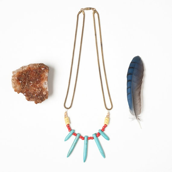 Turquoise Spike Necklace with Seed and Aftican by DeuceFashion, $32.00