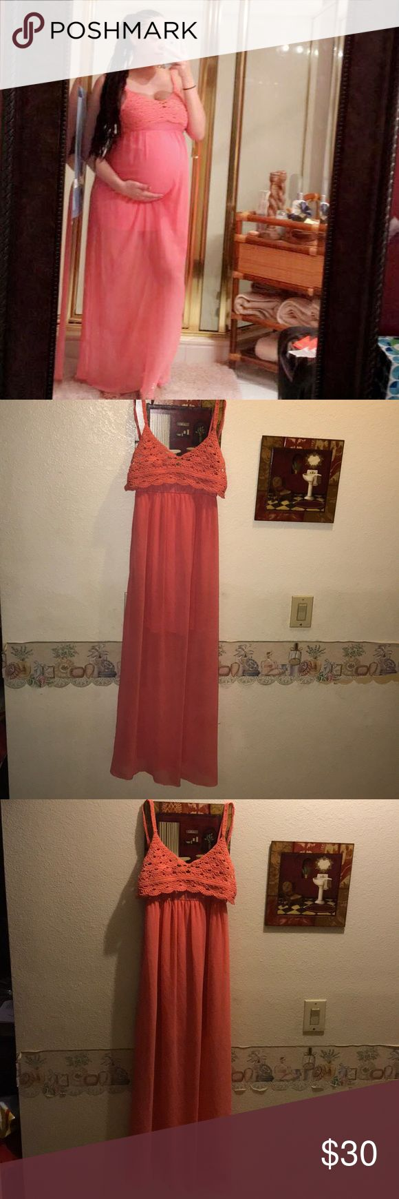 Pink Sheer Long Dress w/ Slip In new condition, no flaws. Includes attached crotchet crop top.  No size tag, but fits a small up to large. I wore it once while pregnant. Dresses Maxi