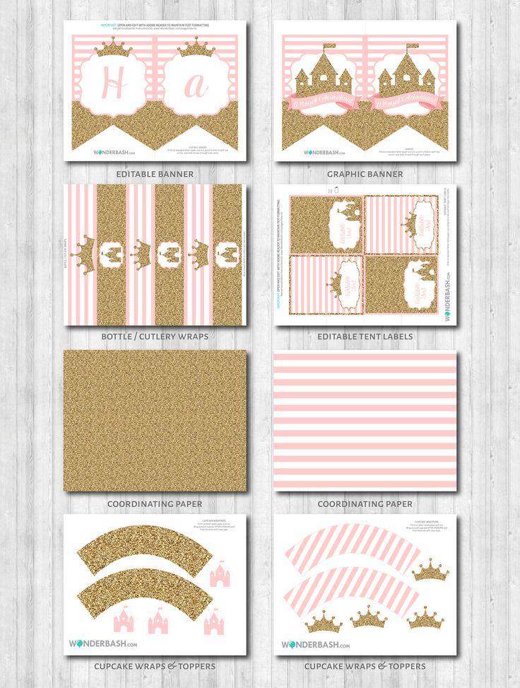 Princess Party Decor: Pink & Gold Glitter