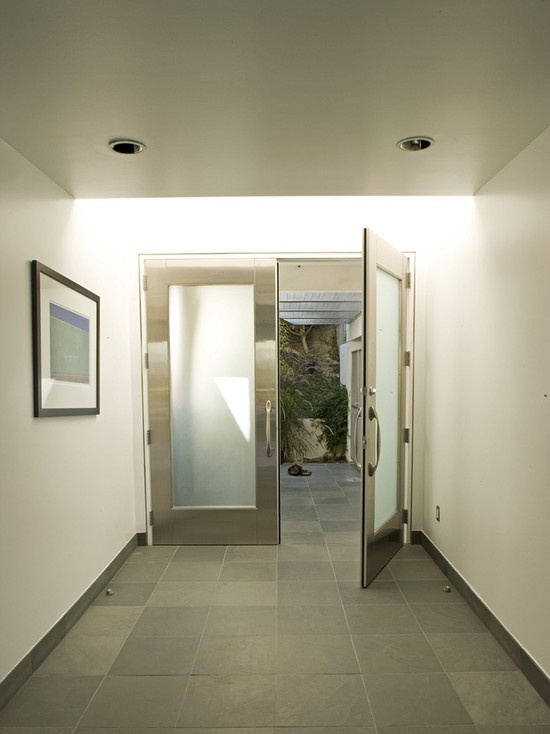 Entry aluminum doors with frosted glass design pictures for Modern entrance hall ideas