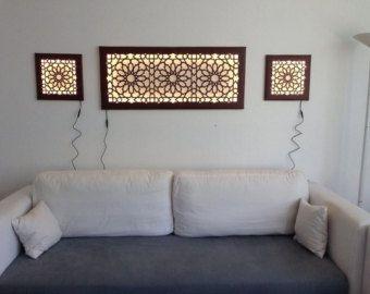 Mural de pared LED Wanddeko con lámpara de pared de cuero del faux de patrón islámico / oriental