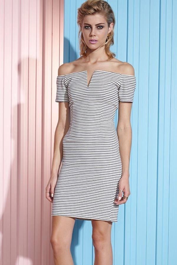 Shakuhachi Ladies Off The Shoulder Stripe Mini Dress Zip Detail 8 10 RRP $219