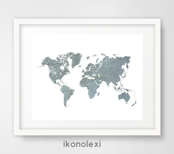 World map art print, boy's room decor, blue world map print, world map decor, adveture map poster, travel map wall art, map wall decor print by Ikonolexi on Etsy
