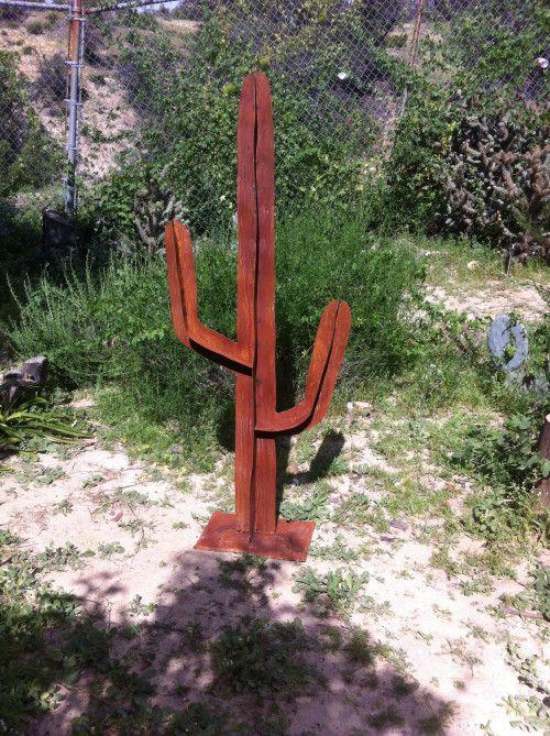 Saguaro Metal Cactus, Cactus Sculpture,metal yard art,metal cactus via TopangaPatina