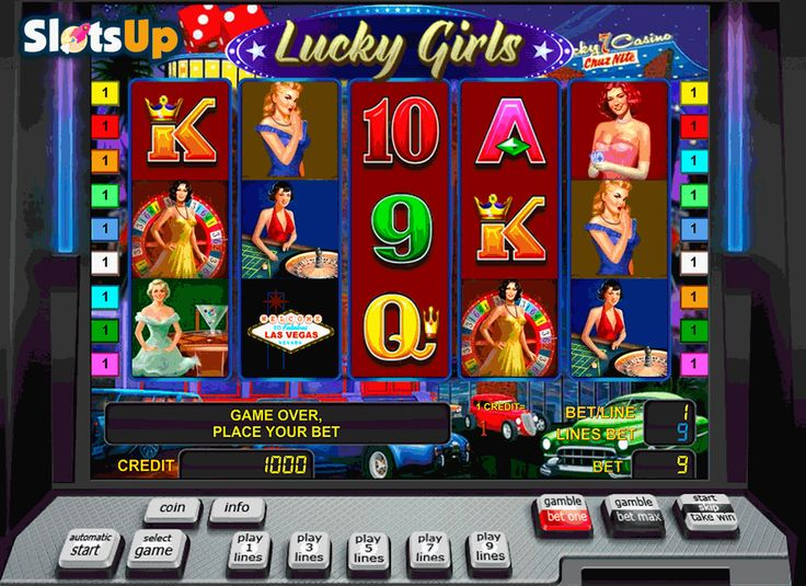 Charming casino companions are waiting for you in the Lucky Girls slot! Beauty can save the world and help every player of the 5-reel, 9-payline Lucky Girls game from Novomatic. Together with beautiful girls and attributes of various casino games, you will get nice prizes using 2x Wild and Scatter icons, free spins with the 3x multiplier and a Risk game. Throw the dice, take your cards and spin the reels of this slot on SlotsUp.com.