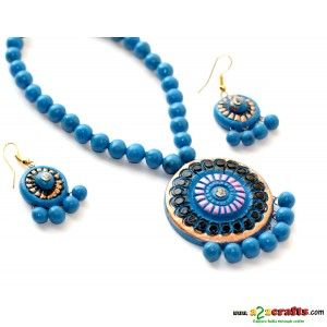 Terracotta Jewellery -Blue round - Terracotta Jewelry - Rs 335 - Hand Made Crafts - Buy & Sell Indian Handmade Crafts and Handmade Jewelry and Gifts