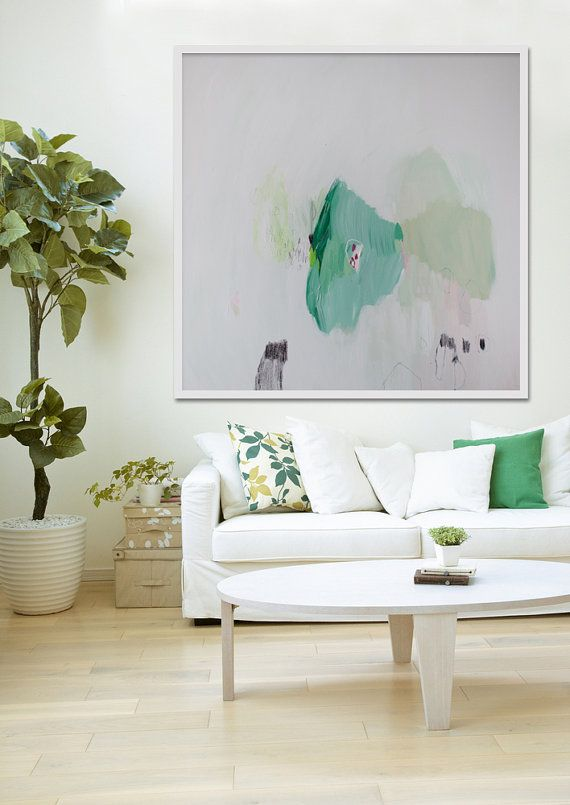 Large abstract painting, white and green modern painting, expressionist painting, original