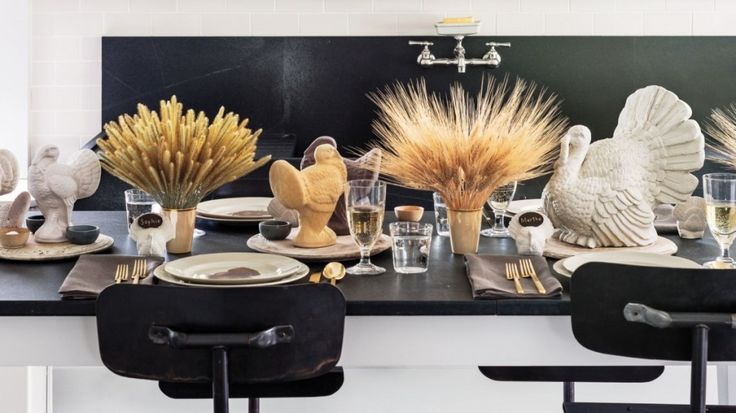 Decoration:Marvelous Thanksgiving Decoration Ideas For Kids With The Thanksgiving Table Displaying Wheat In Vases With White Turkey Also Flatware Sets On The Black Glossy Table And Chairs For Interior Decorating  Unique Delights With Amazing Thanksgiving Decoration for Kids