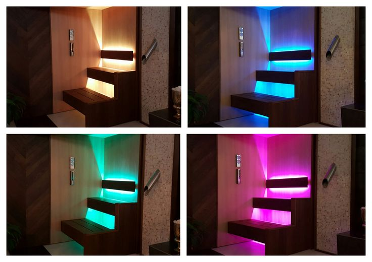 Gorgeous chromotherapy lighting on a bespoke Dröm UK Ash and Cedar sauna.