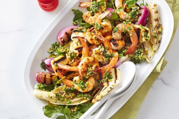Barbecued prawns with salsa verde main image