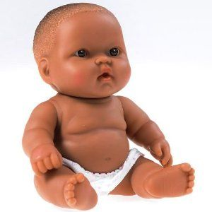"Lots to Love Baby 8"" (African American) by JC Toys Designed by Berenguer. $7.95. Washable vinyl and has a soft scent. Eye color and facial expressions may vary. Pleasantly plump diapered baby doll has moveable arms, legs, and a head that turns. Pleasantly plump diapered baby doll has moveable arms, legs, and a head that turns. Eye color and facial expression may vary from image shown. Washable vinyl and has a soft scent."