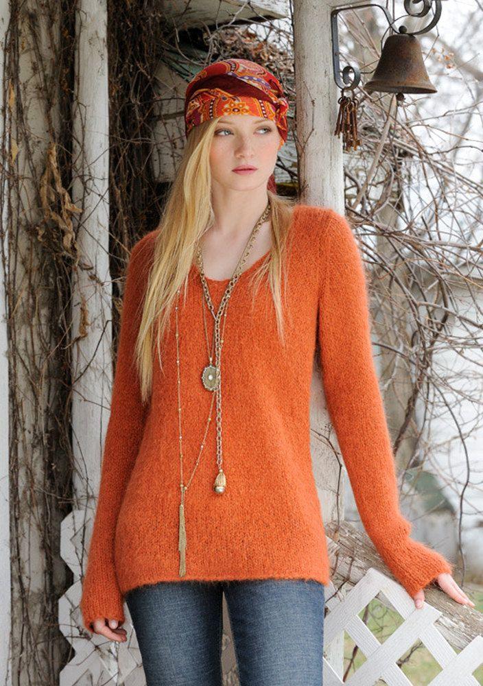 Bohemian Sweater in Blue Sky Alpacas Brushed Suri - download the pattern from LoveKnitting!
