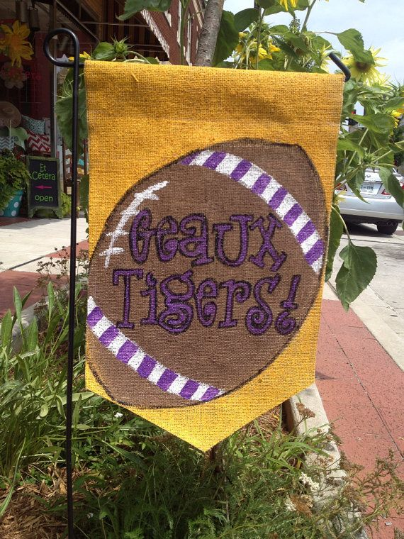 Burlap Yard Flag LSU College Football Geaux Tigers by Burlapulous, $20.00
