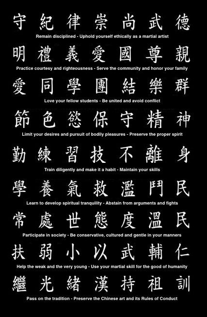 Wing Chun code of ethics.