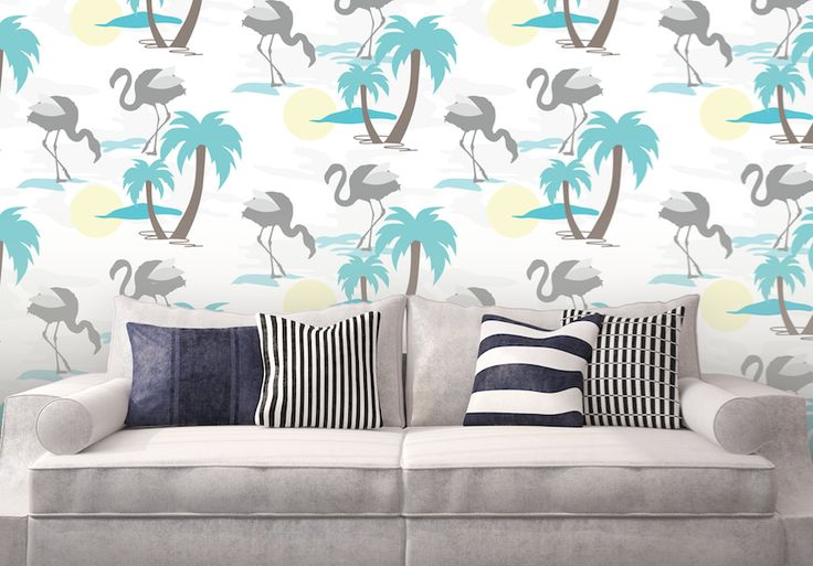 Flamingos In the Sun wallpaper  this pattern is part of our retro inspired collection #wallpaper #removablewallpaper #selfadhesivewallpaper #bespoke #custommade #walldecor #tropicaldecor #bluefocus #colourstudy