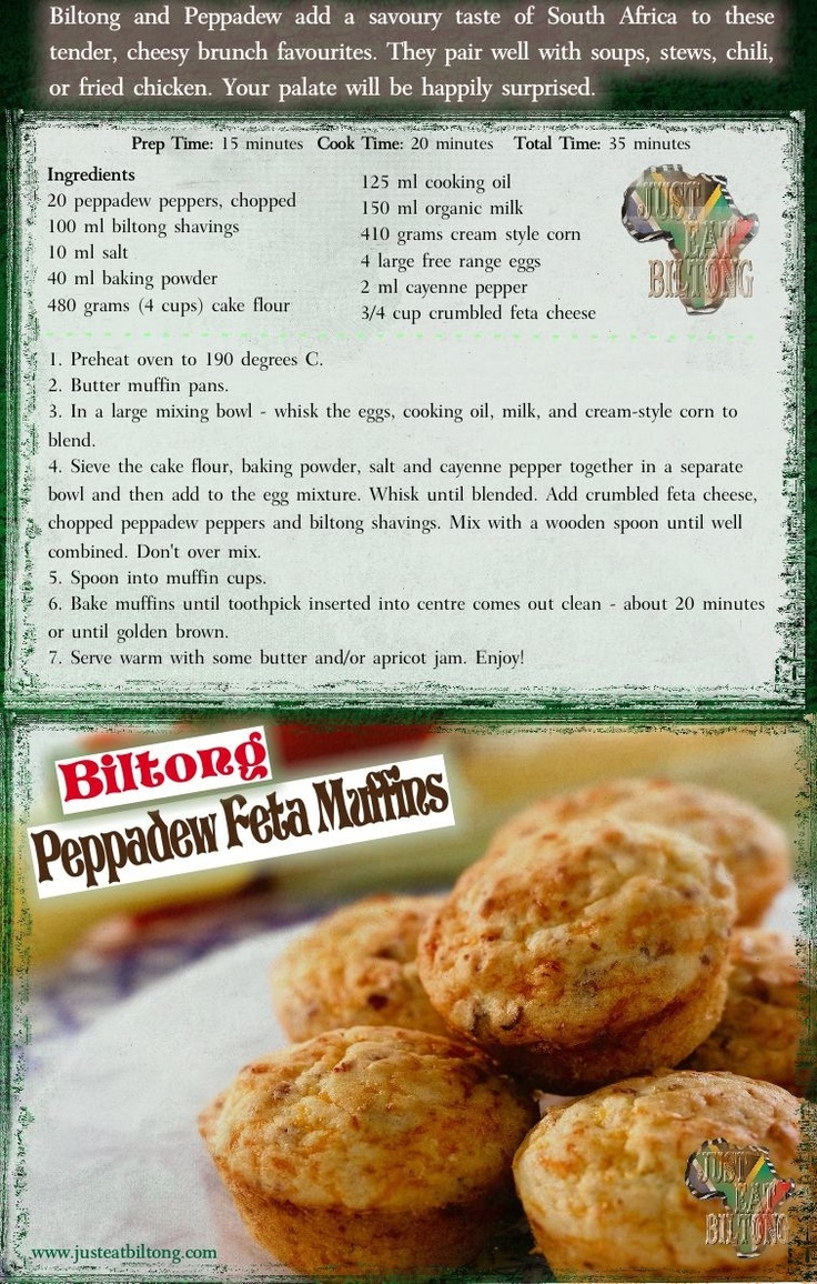 If you haven't tried biltong, you're missing out! This muffin recipe is soooo delicious, and easy to make. A must for the holiday season. Share with your friends and family.   *You can swap biltong for jerky or bacon.