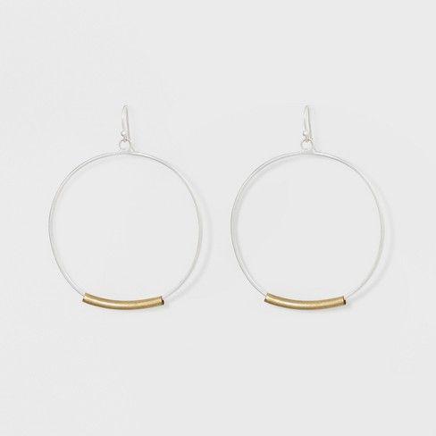 Open Circle with Metal Long Bar Hoop Earrings - Universal