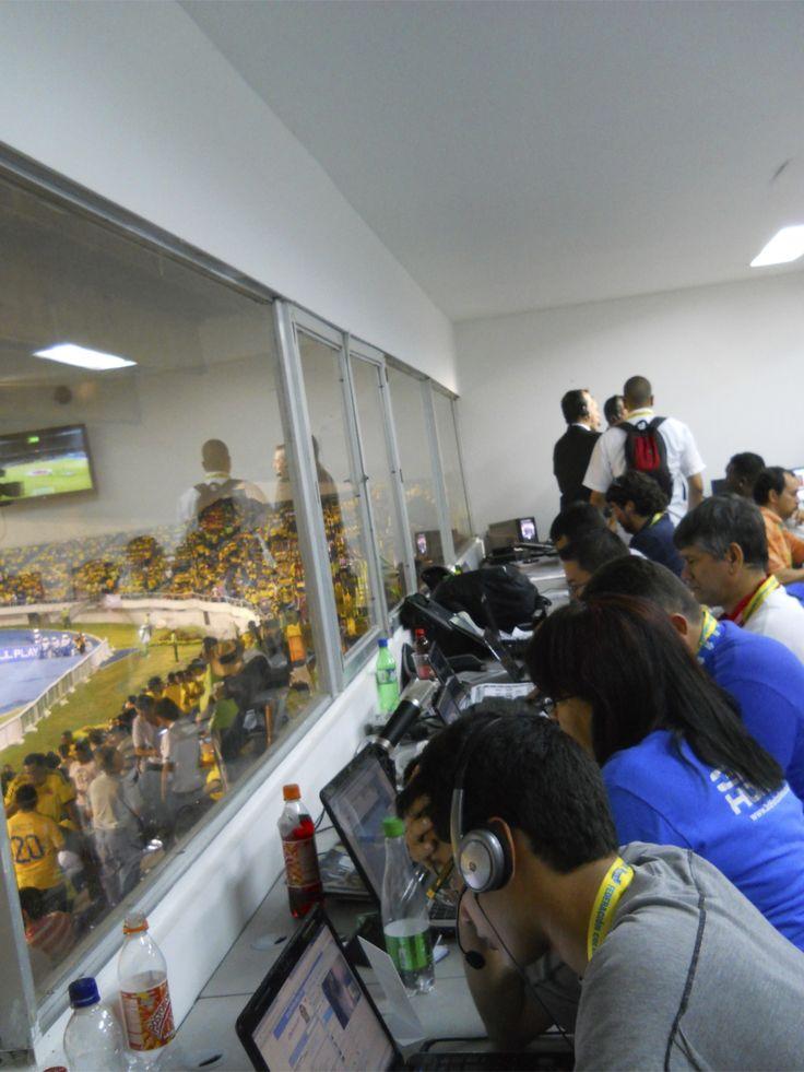 La sala de prensa en el estadio Metropolitano de Barranquilla