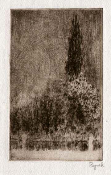 Bohuslav Reynek Zimní zahrada s topolem / Garden with Poplar in Winter  suchá jehla / dry point 16 x 9,5 cm, 60. léta
