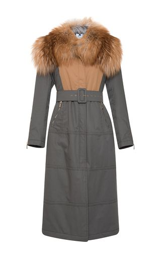 Fur Stole Belted Coat by BLUMARINE for Preorder on Moda Operandi