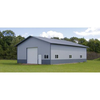 Gray And Blue Colors Horse Barn Structural
