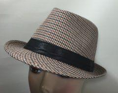 Cotton Trilby - Black, Brown & Cream Checker 58