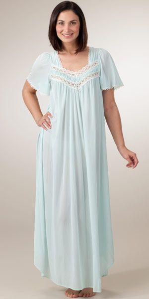 miss elaine silk essence long nightgown