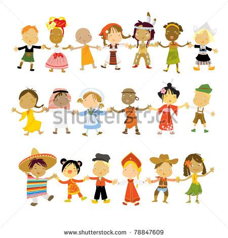 kids multicultural traditional costumes - stock vector